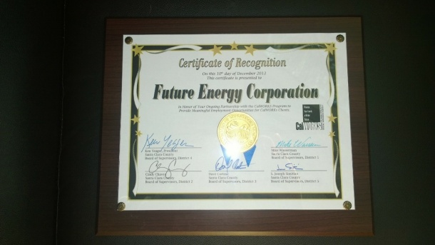FUTURE ENERGY NAMED 2013 EMPLOYER OF THE YEAR IN SANTA CLARA, CA